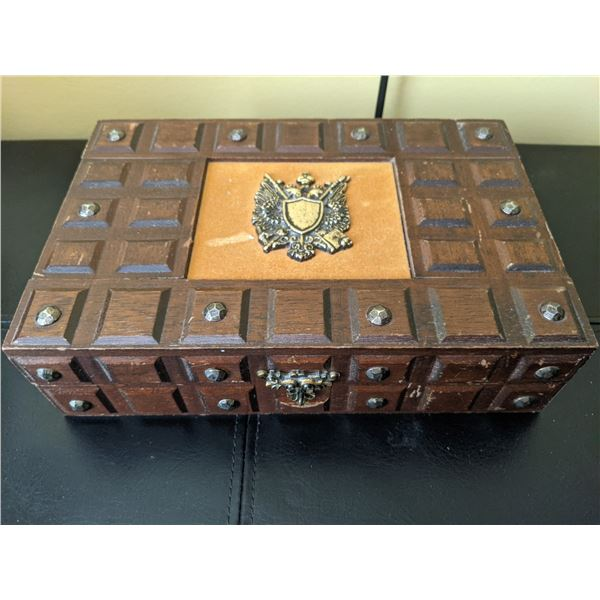 wooden sheild box with contents