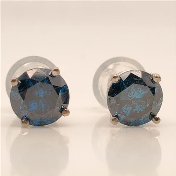 14K BLUE DIAMOND(1.18CT) EARRINGS