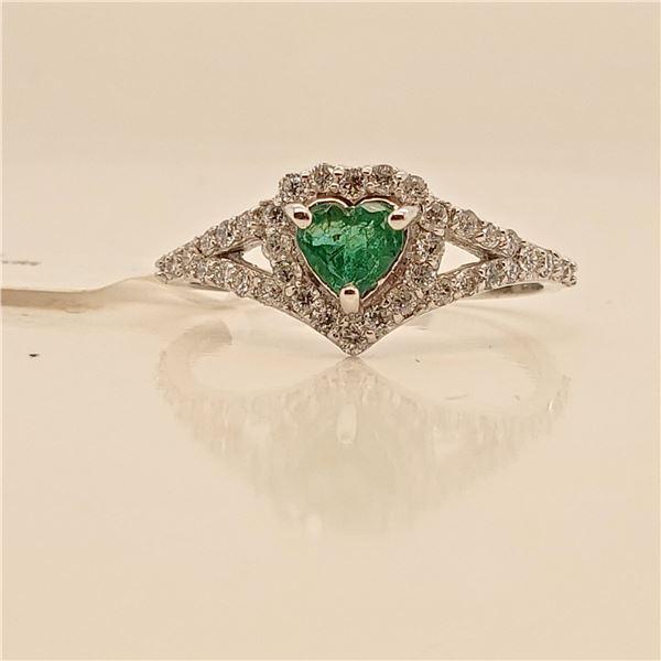 14K NATURAL EMERALD DIAMOND (0.36CT) RING SIZE 6