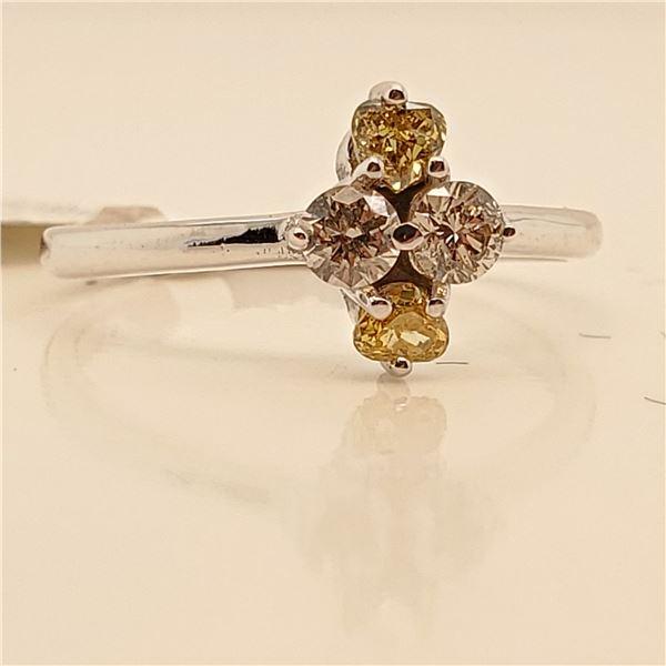10K NATURAL BROWN DIAMOND (0.18CT) DIAMOND (0.2CT) RING SIZE 6.5