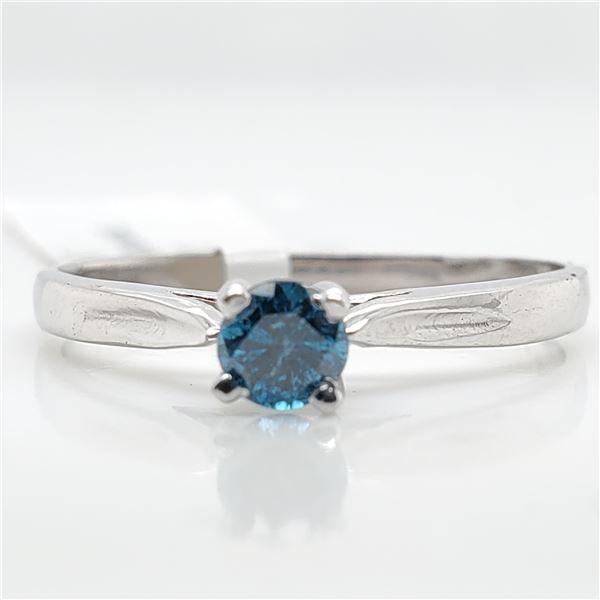 10K BLUE DIAMOND (0.19CT) RING SIZE 5.5