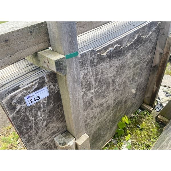 25 PIECES APPROXIMATELY, 3'X5' GREY MARBLE SLABS  **LOCATED IN RICHMOND**