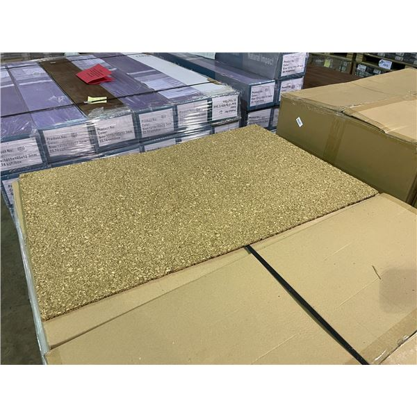 """PALLET OF 12 BOXES OF 36' X 24' SHEETS 1/4"""" UNFINISHED CORK WALL COVERING SOUND PROOFING / UNDERLAY"""