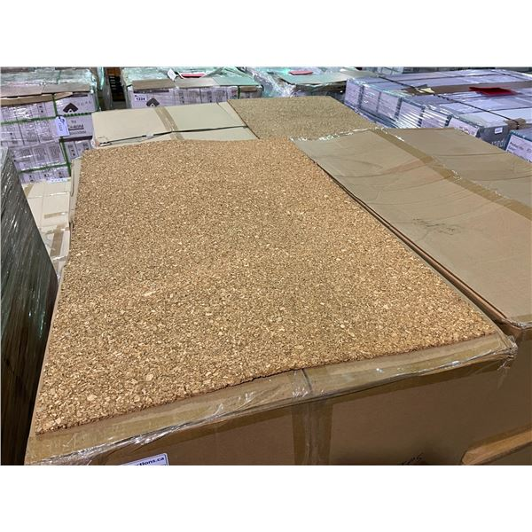 """PALLET OF 6 BOXES OF 36' X 24' SHEETS 1/4"""" UNFINISHED CORK WALL COVERING SOUND PROOFING / UNDERLAY"""