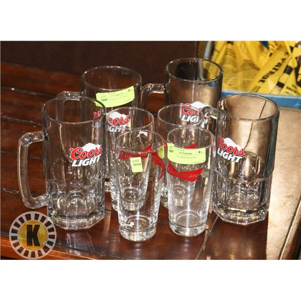 4 BUDWEISER BEER GLASSES SOLD WITH 4 COORS LIGHT