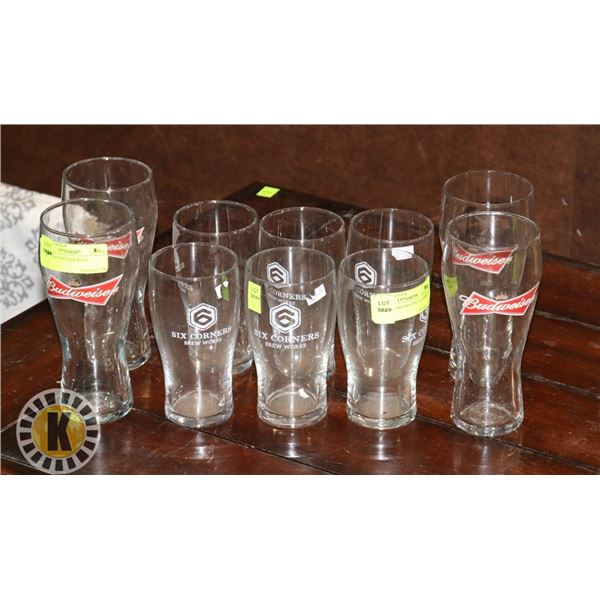 6 SIX CORNERS BEER GLASSES SOLD WITH 4
