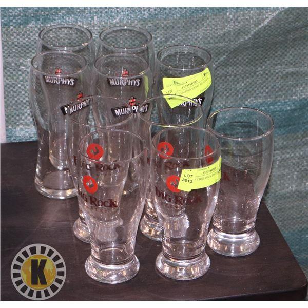 5 BIG ROCK BEER GLASSES SOLD WITH 5 MURPHY'S