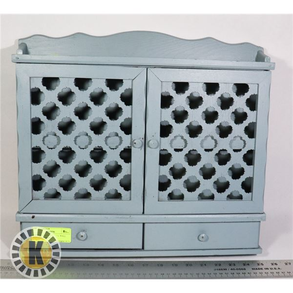 PAINTED VINTAGE SMALL WALL HANGING CABINET