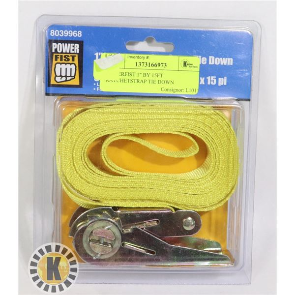 """POWERFIST 1"""" BY 15FT RATCHET STRAP TIE DOWN"""