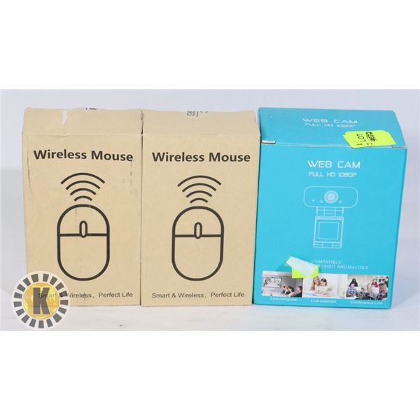 TWO WIRELESS MICE SOLD WITH HD WEBCAM