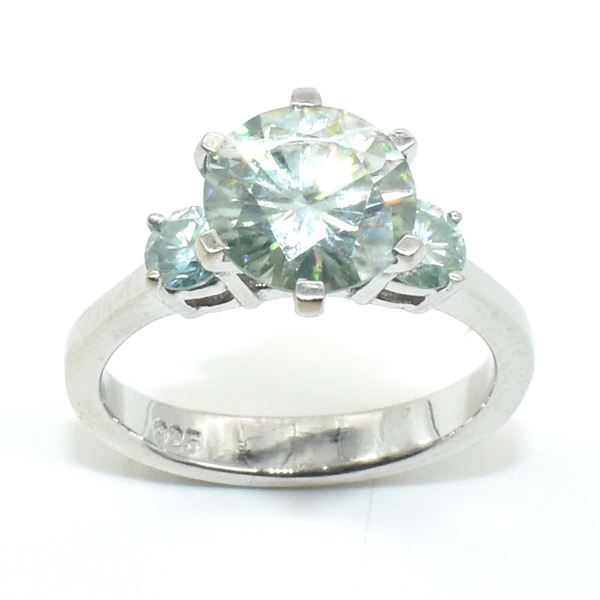 SILVER CERTIFIED MOISSANITE (ROUND 9 & 3 MM)(2.8CT