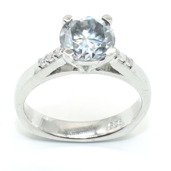 SILVER CERTIFIED  MOISSANITE ( ROUND 7 & 2 MM)(1.7