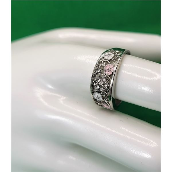 6)  SILVER TONE WITH CLEAR CZ AND PINK AND