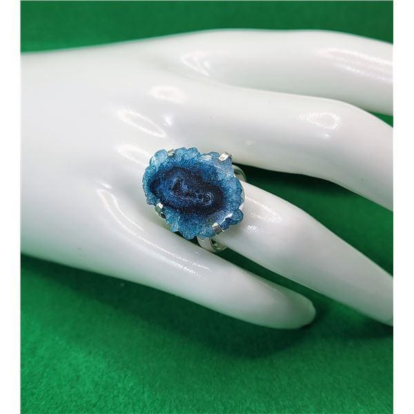 8)  BLUE SOLAR QUARTZ RING SET IN 925 STAMPED