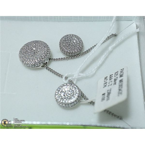 NEW 3 PIECE SILVER EARRING AND PENDANT SET. 238