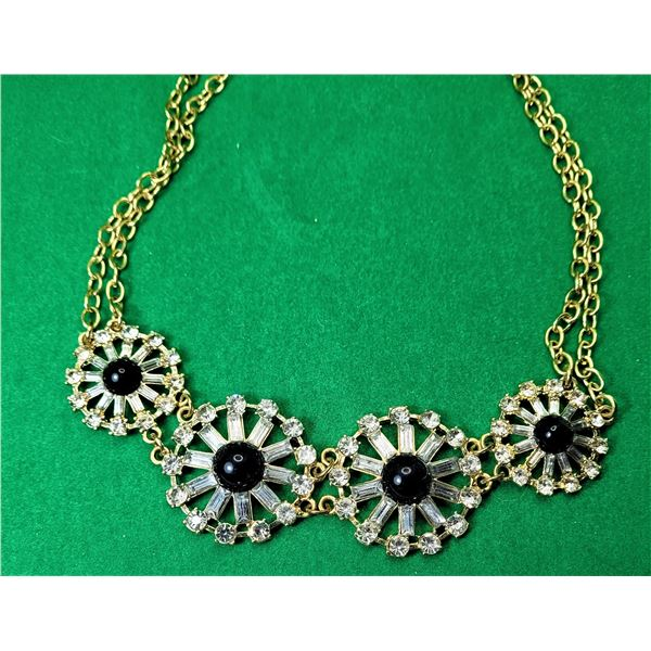 16) VINTAGE GOLD TONE WITH CLEAR CRYSTALS AND