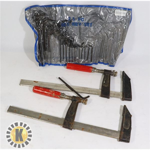 BOX OF ESTATE TOOLS- 2 CLAMPS, ALLEN KEY SET,