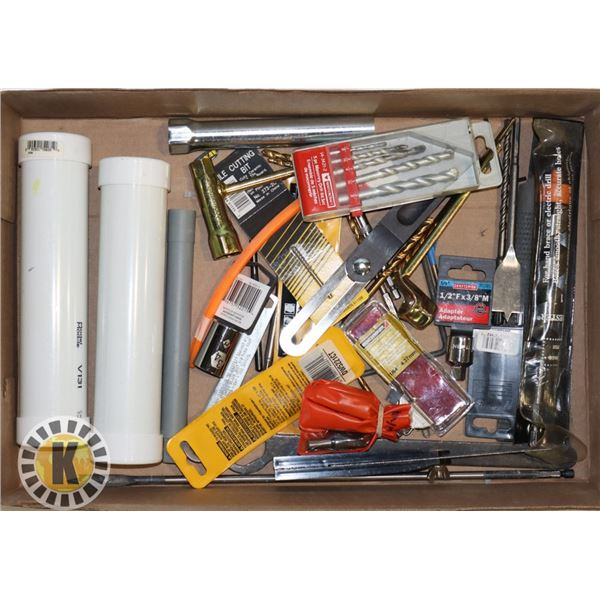 ESTATE BOX OF ASSORTED DRILL BITS AND OTHER TOOLS