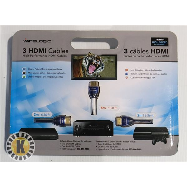 3 HDMI CABLE- WIRELOGIC- TWO 2M & ONE 4M CABLE