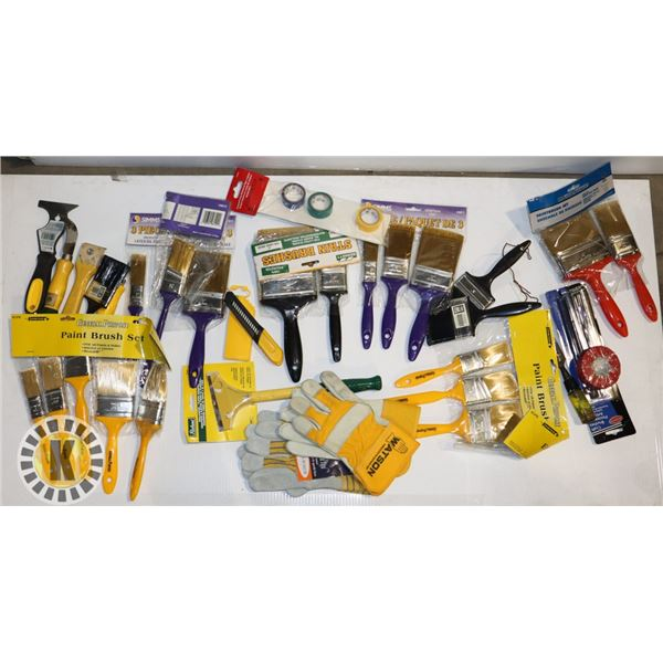 FLAT BOX OF PAINTING TOOLS- NEW AND ESTATE