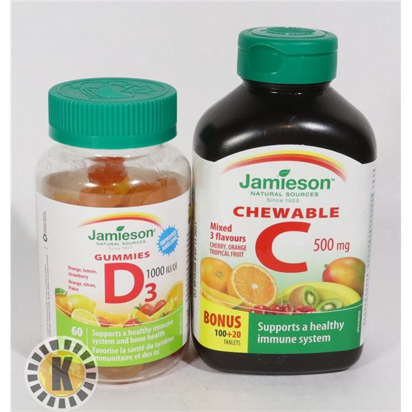 TWO BOTTLE OF JAMIESON VITAMINS. ONE CHEWABLE C