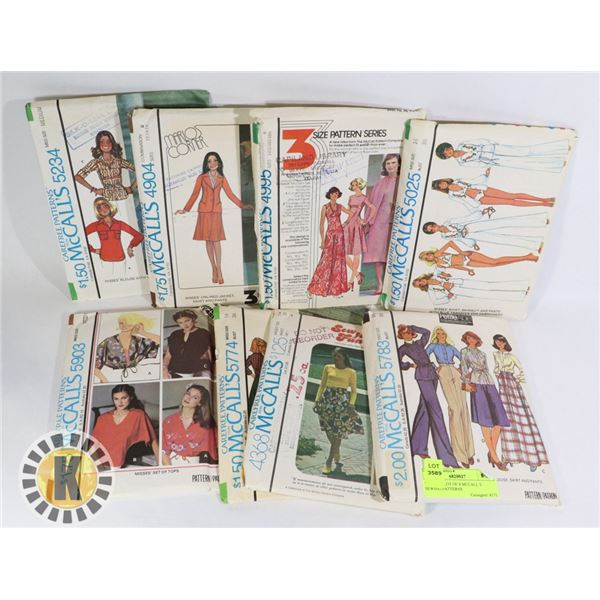VINTAGE LOT OF 8 MCCALL`S SEWING PATTERNS