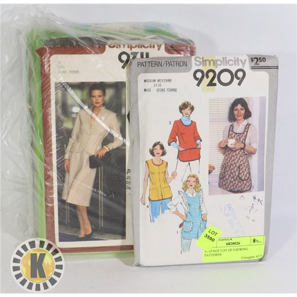 VINTAGE LOT OF 9 SEWING PATTERNS