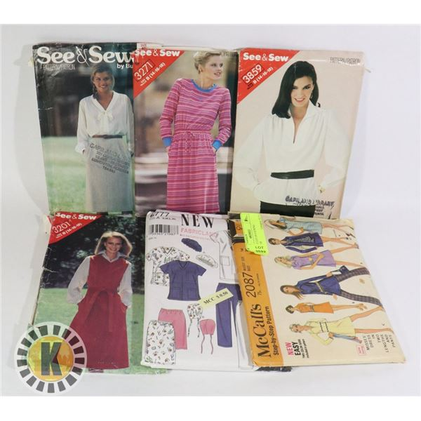 VINTAGE LOT OF 6 SEWING PATTERNS