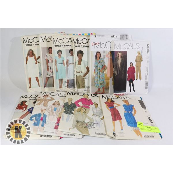 VINTAGE LOT OF 11 MCCALL`S SEWING PATTERNS