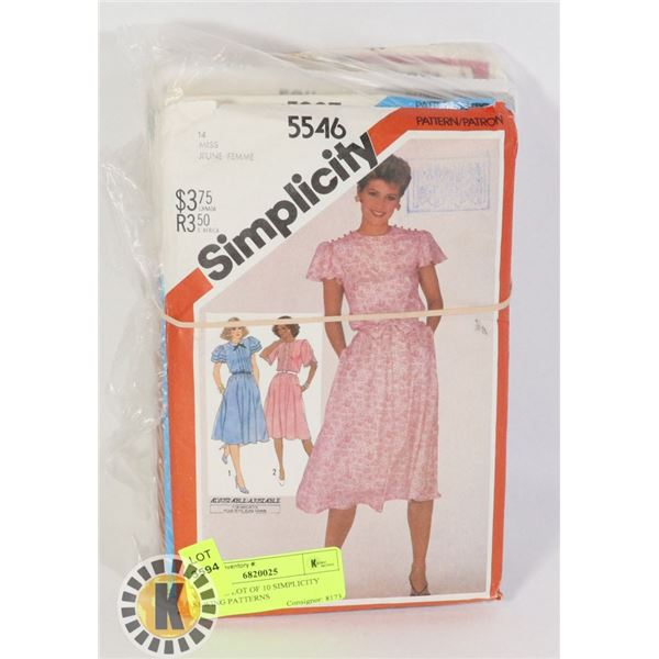 VINTAGE LOT OF 10 SIMPLICITY SEWING PATTERNS