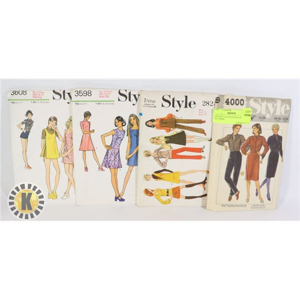 VINTAGE LOT OF 4 STYLE SEWING PATTERNS