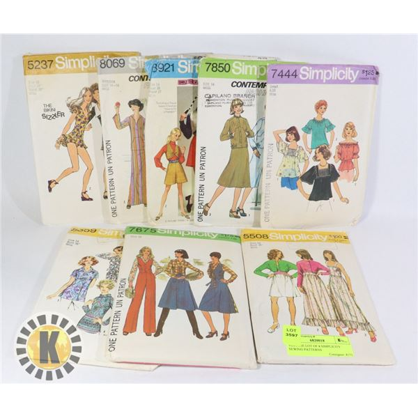 VINTAGE LOT OF 8 SIMPLICITY SEWING PATTERNS