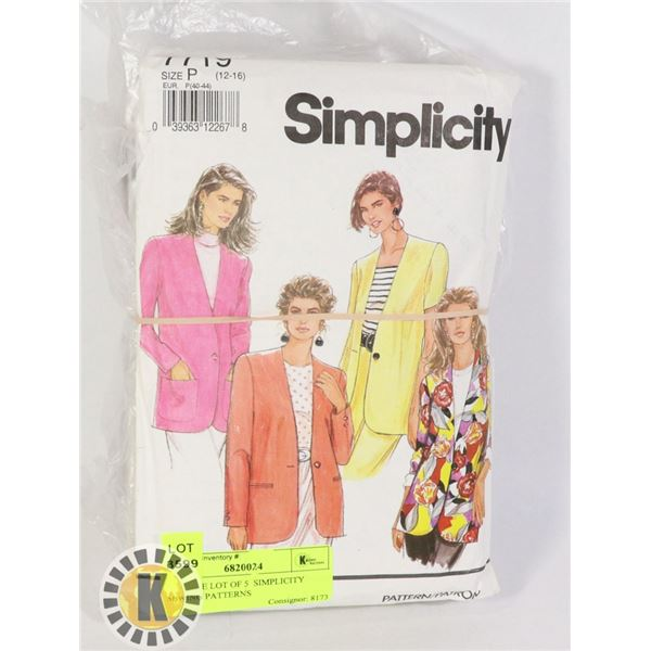 VINTAGE LOT OF 5  SIMPLICITY SEWING PATTERNS