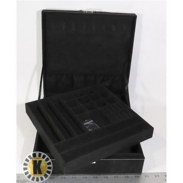VELVET 2 LAYER JEWELRY BOX WITH KEY