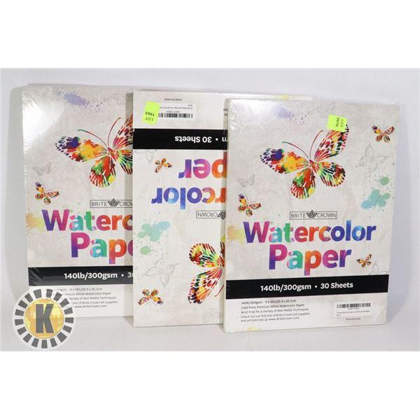 THREE WATERCOLOR PAPER BOOKS