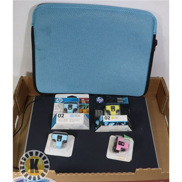 LAPTOP CASE, COLLER STAND AND HP INK