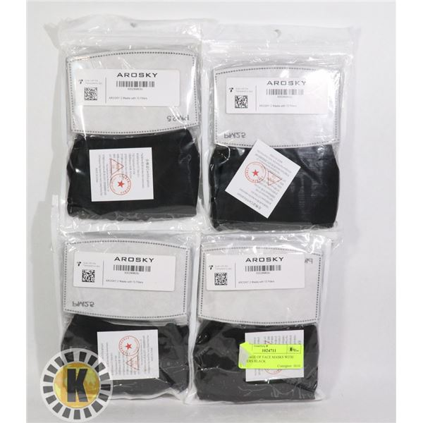 PACKAGE OF FACE MASKS WITH FILTERS BLACK