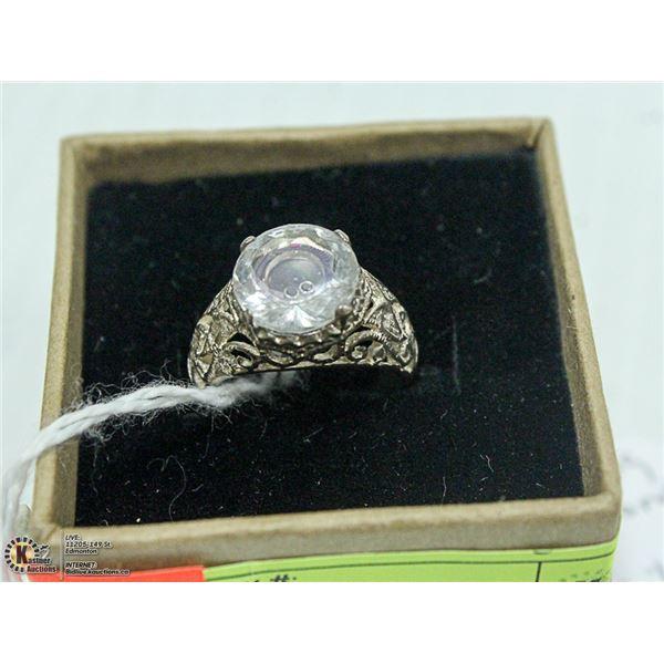 NEW. BLACK DIAMOND FLOATING IN CRYSTAL, SET