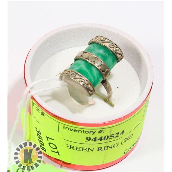 SILVER/ GREEN RING (20)