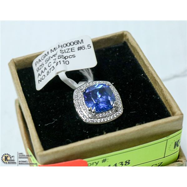 NEW. SILVER RING. BLUE CZ CENTER, ACCENTED