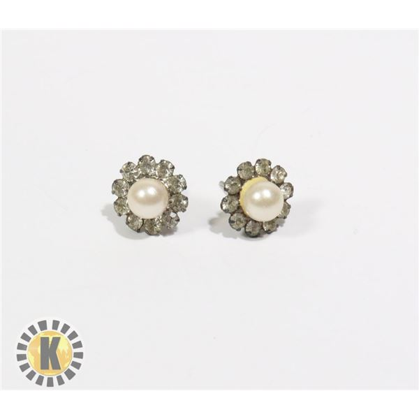 955-109 SILVER TONE PEARL CENTER W/ CRYSTAL AROUND