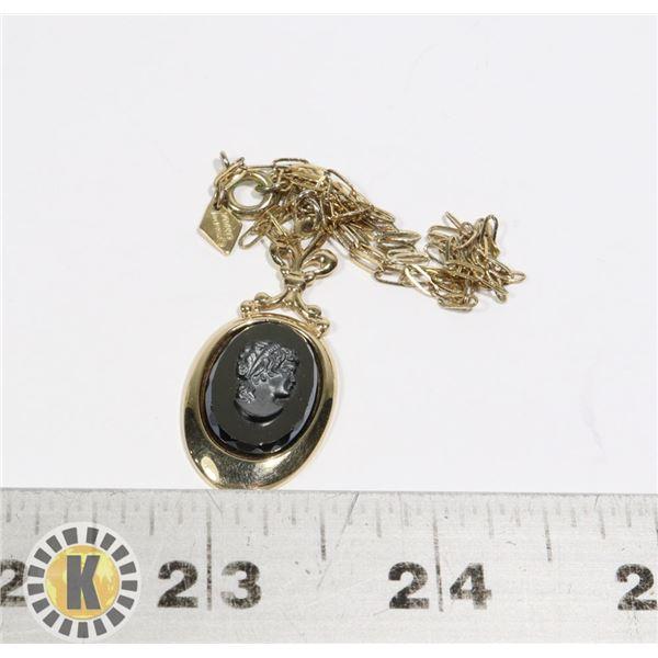 940-130 GOLD TONE NECKLACE, BLACK PENDANT W/ FACE