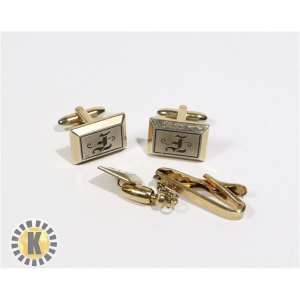 """955-117 GOLD TONE CUFF LINKS W/ TIE PIN """"F"""" ON FACE"""