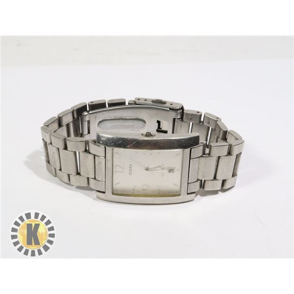 945-135 SILVER TONE GUESS METAL BAND MISSING POST WATCH