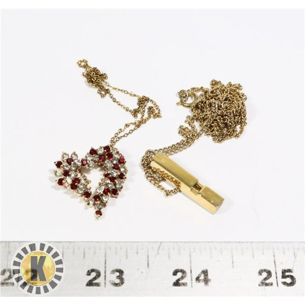 940-138 GOLD TONE CHAIN HEART PENDANT W/RED GEMS