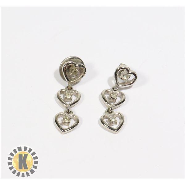 955-107 SILVER TONE 3 HEART DANGLE EARRINGS W/ CRYSTAL