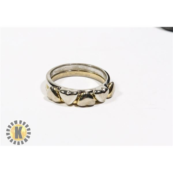 925-125 SILVER & GOLD TONE BAND W/ 5 HEARTS RING -