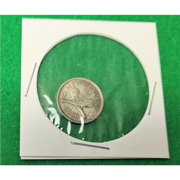 23)  NEW ZEALAND 1939 KIG GEORGE VI 5 PENCE COIN
