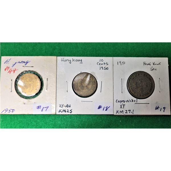 11)  LOT OF 3 VINTAGE HONG KONG COINS FROM