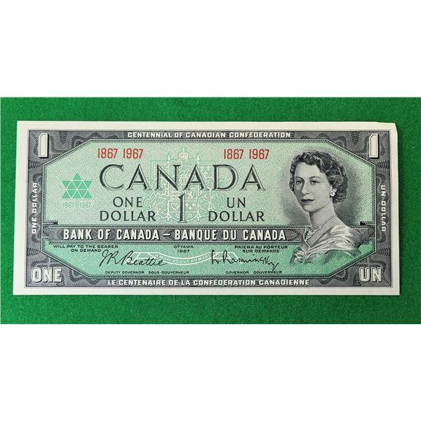 19)  CANADIAN $1.00 BILL COMMEMORATING 1867-1967
